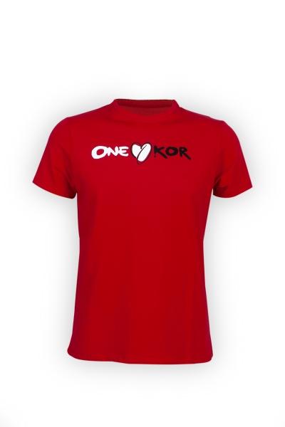 ONEKOR - T-shirt red crew - neck
